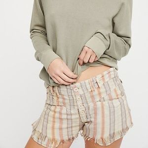 Free People Morning Rain Striped Linen Shorts